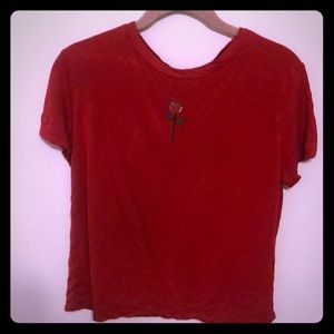H&M small red T-shirt with a rose on the front